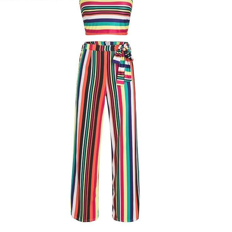 Striped Pant Jumpsuit - Striped 2-piece Jump Suit Top and Bottom Set - 3 Striped Color Options
