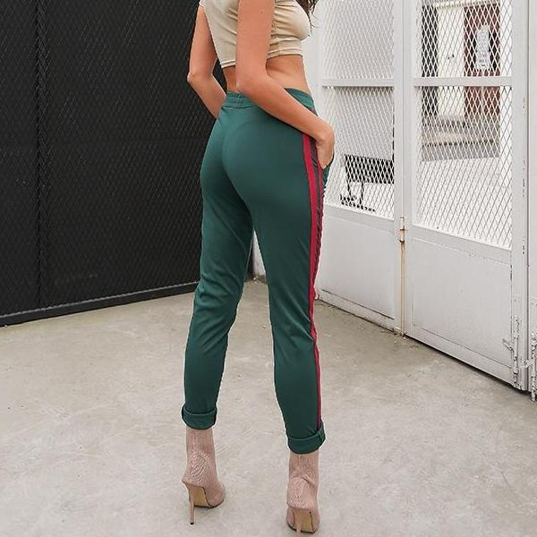Casual Stripe Green Women Pants - Green and Red Sweatpants - Spandex Pants