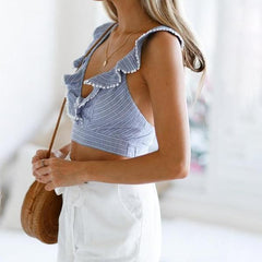 Elegant Ruffle striped print tank - 2 color options