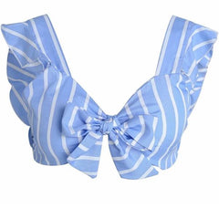 Ruffled Striped Crop Top - Blue and White Crop Top