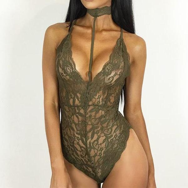 BodyCon Lace Body Suit - Sexy Rope Choker  Green