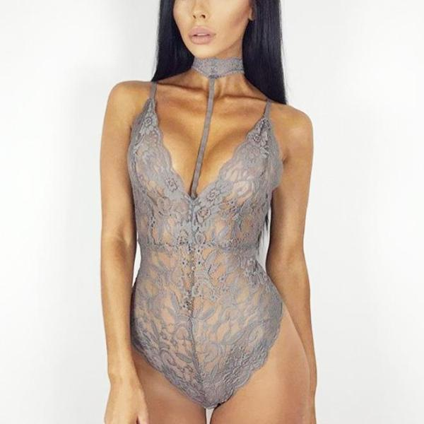 BodyCon Lace Body Suit - Sexy Rope Choker  Gray