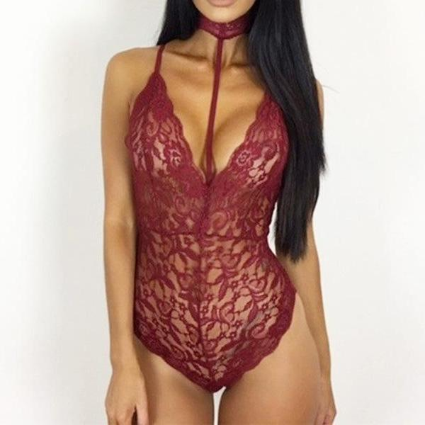 BodyCon Lace Body Suit - Sexy Rope Choker  Red