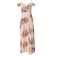High Slit Floral Dress - Ruffled Off the Shoulder Dress - Floral Off the Shoulder Maxi Dress