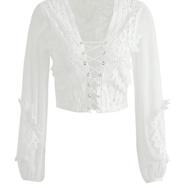 Hollow out mesh white lace blouse shirt - Women tops transparent lace up blouse
