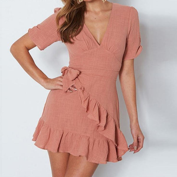 Beautiful Cotton Mini Wrap Dress - Linen Ruffles Dress - White, Coral, Nude/Tan