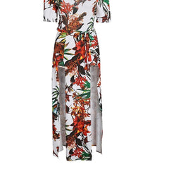 Off the Shoulder High Slit Maxi Dress - Off the Shoulder Palm Print Dress