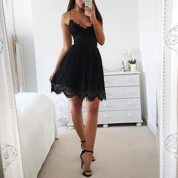 Backless Mini Lace Dress Black