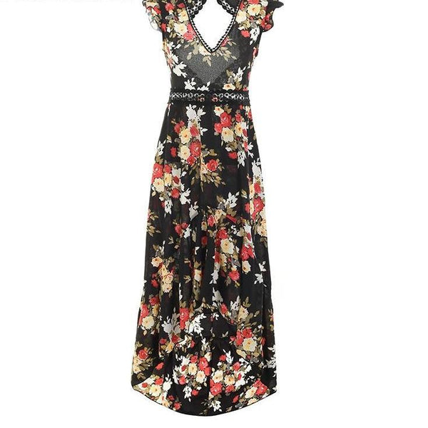 Black or White High Low Backless Dress - Black Maxi Backless Dress - White Maxi Backless Dress - Floral High Low Dress