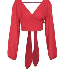 Chiffon Crop Top Backless Crop Top - Long sleeve female blouse - Red, White, Black - Bow Shirt