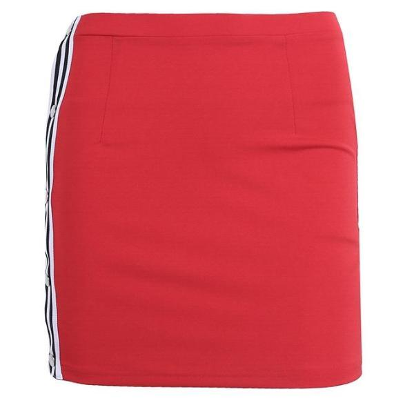Casual Stripe Pencil Skirt with Clip Up Side - Red, Black or Blue