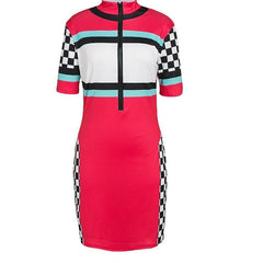 Racer Dress - Sexy Racer Dress - Checkerboard Dress - Red, Black, Blue