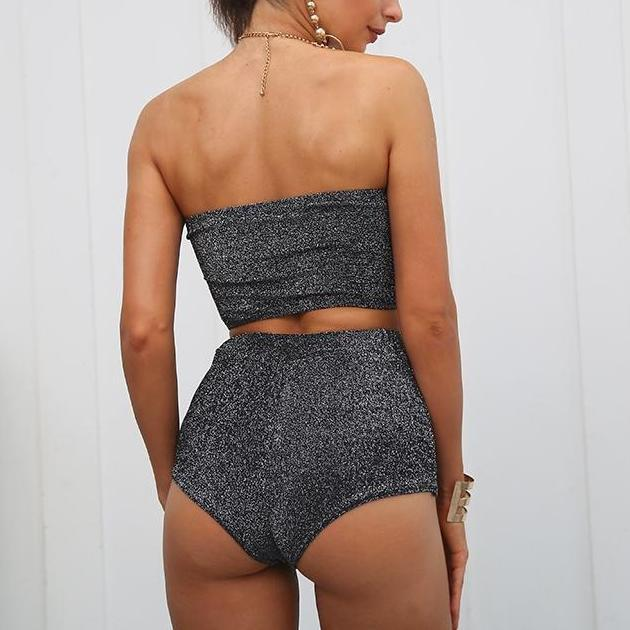 2 Piece Sexy and Shimmery Play Suit - Bandana Crop Top - Silver, Maroon, Nude/Beige - Boy Shorts