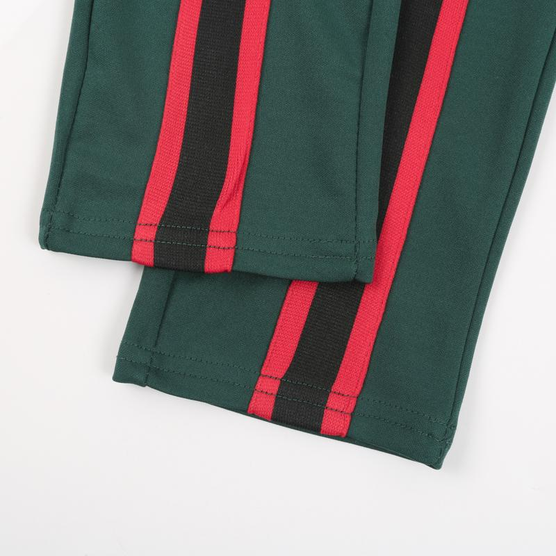 Green with Red Stripe Track Suit for Women - Red Stripe Crop Top