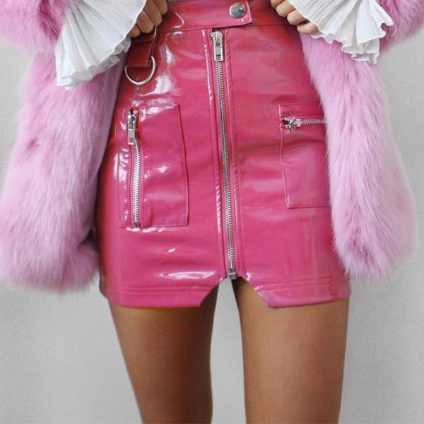 Pleather Hot Pink Mini Skirt with Silver Zippers and Details - Use code MINE to make it just $29 ships free!