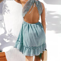 Beautiful Cotton Crochet Halter Dress - Mint Aqua Blue Day Dress