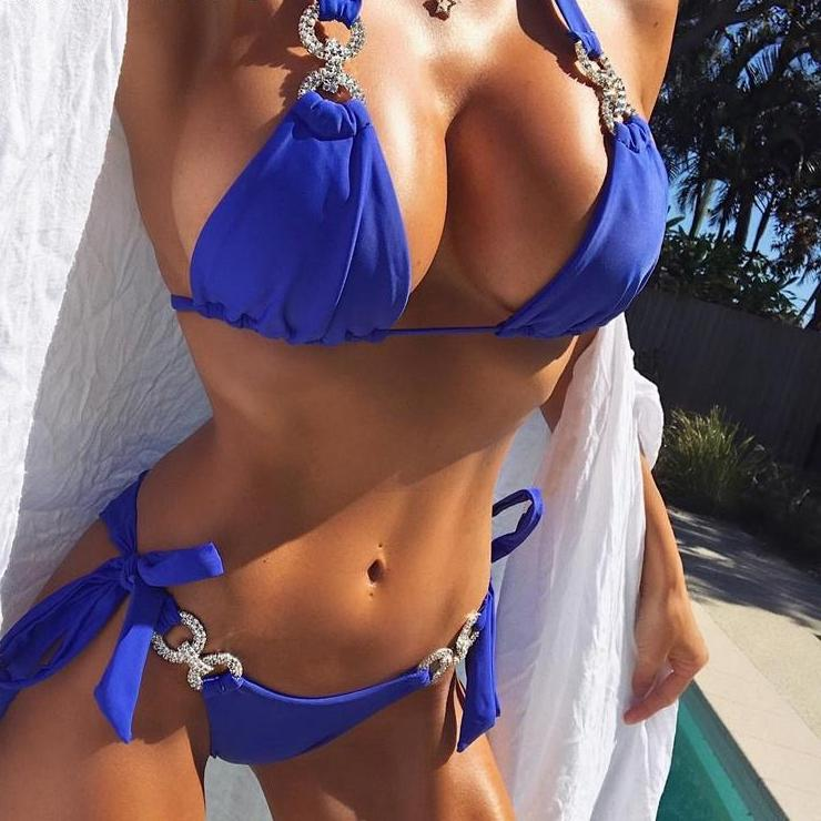 Two-piece suit crystal buckle swimwear - Blue, Red, Yellow, Black Crystal Bikini - Diamond Chains Bikini