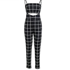 2 Piece Plaid Pant Jumpsuit - Spandex for comfort and to tighten - Plaid Pant Jumpsuit