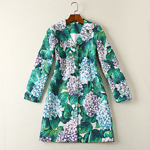 Designer Trench Coat - Women's Long Sleeve Gorgeous Floral Printed Trench Coat - Womans Outerwear