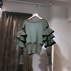 Ruffled Sweater - Black or Army Green