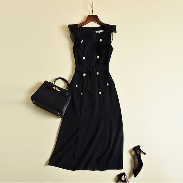 Black or White Run Way Inspired Dress - Designer Dress Women's Square Collar Double Breasted Slit Dress - Gold Buttons on Black Day Dress - Sexy Evening Dress