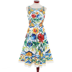 *Use code XOXO to make it just $75 - ships FREE!*    Backless Run Way Inspired Floral Day Dress - Sleeveless Floral Day Dress - High Fashion Inspired Day Dress
