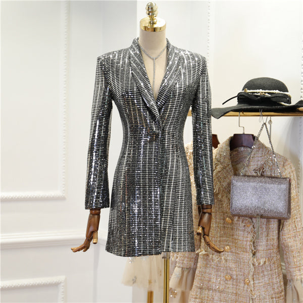 Silver Sequin Blazer Dress - Womans Sequin Long Sleeve Blazer Dress in Silver - Long Sleeve Night Dress
