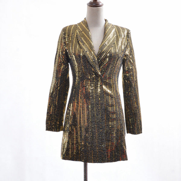 Designer Sequin Blazer - Women's Long Sleeve Gold Sequined Blazer - Night Dress Option