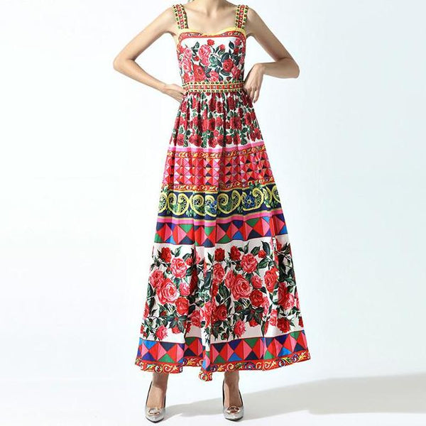 Chic Runway Maxi Dress - Womans Floral Maxi Dress - Best Seller