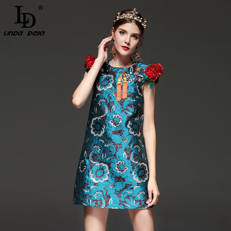 High Quality Mini Dress - Couture Printed Mini Dress with Ruffled Shoulders