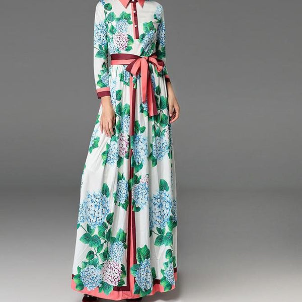Womans Floral Hydrangea Maxi Dress - New '18 Arrival