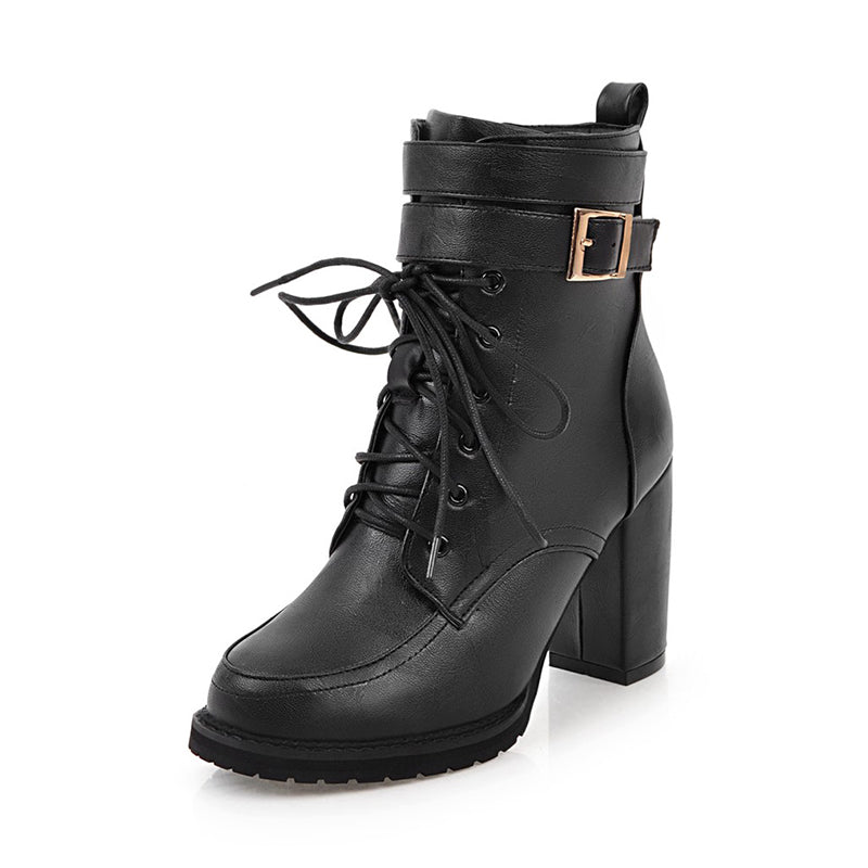 Buckle Combat Boots - Grey or Black