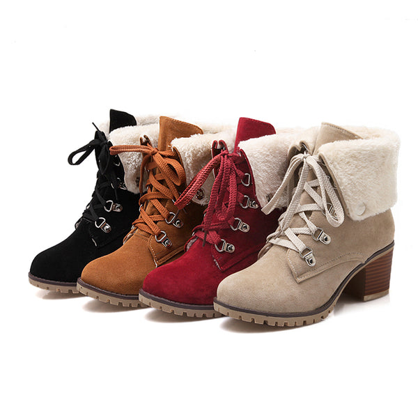 Winter Ankle Boots - Red, Tan, Camel and Black