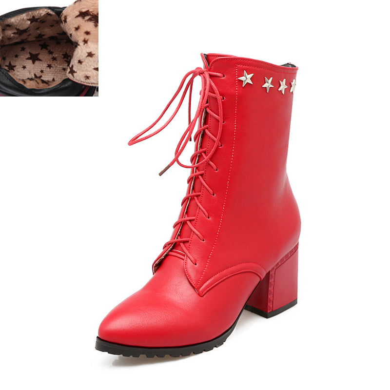 Star Combat Boots - Red, Black, Brown