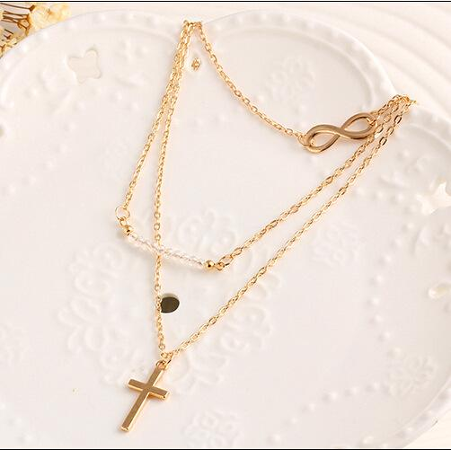 3 Layers Cross Necklace - Gold Layered Necklace with Cross