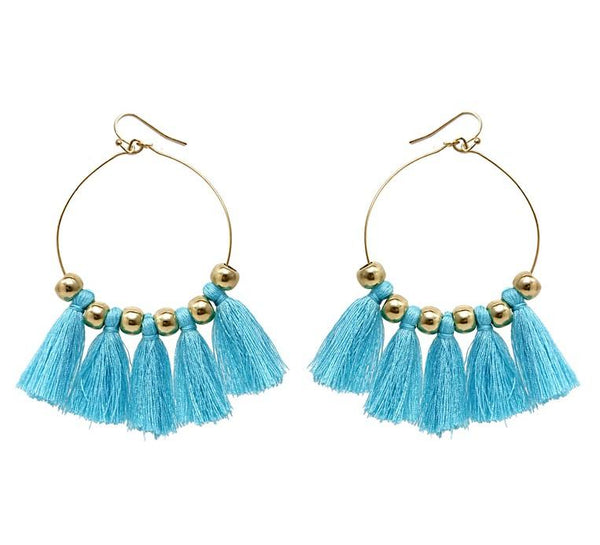 Fun Tassel Hoop Earrings - Hoop Earrings with Tassels - Pick your Tassel Color