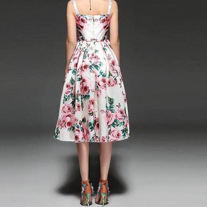 Everyday Floral Dress - Knee Length Cotton Floral Dress
