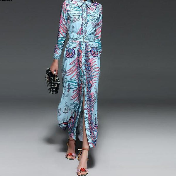 Lovely Palms Day Dress - Black with Neon Palms or Aqua Blue with Fuschia  - Long Sleeve Belted Maxi Dress