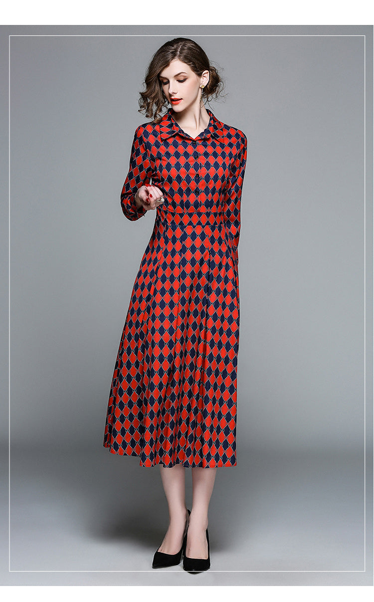 2744db92978e Checkered Midi Dress - Long Sleeve Checkered Dress – Mirina Collections