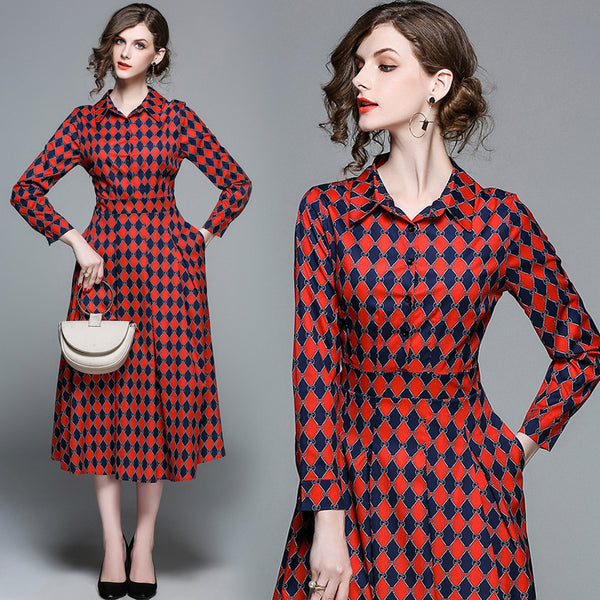Checkered Midi Dress - Long Sleeve Checkered Dress