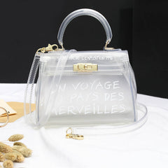 Transparent Inspirational Handbag - Paris Inspired Transparent Handbag - Green, Pink, Black, Orange, Small or Large Size Totes
