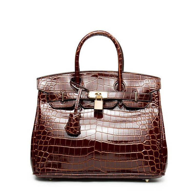 Crocodile Leather Messenger Handbag - 3 Different Sizes - Many Color Options