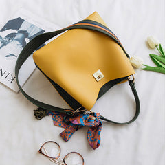 Soft Leather Handbag with oversized Shoulder Strap - Ivory or Yellow