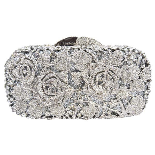 Floral Drenched in Jewels Evening Handbag - Silver