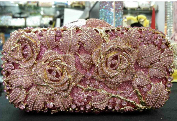 Floral Drenched in Jewels Evening Handbag - Rose Gold / Pink