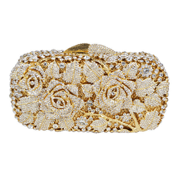 Floral Drenched in Jewels Evening Handbag - Gold