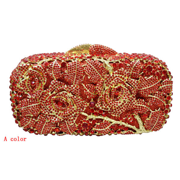 Floral Drenched in Jewels Evening Handbag - Red