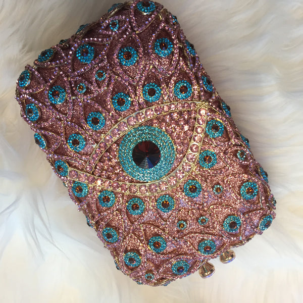Copy of Mirina Evil Eye Handbag - Drenched in Australian Crystals - Pink