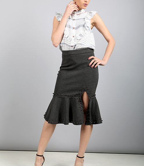 Dark Gray Statement Detailed Skirt