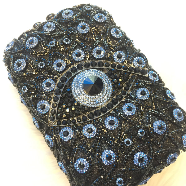 Mirina Evil Eye Handbag - Drenched in Australian Crystals - Black & Blue